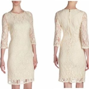 Neiman Marcus | New Ivory Knee Length Lace Dress